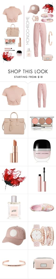 """""""Paint Me Pink"""" by honeystarflake ❤ liked on Polyvore featuring Vetements, Yves Saint Laurent, Chantecaille, Estée Lauder, Marc Jacobs, Too Faced Cosmetics, philosophy, Ted Baker, Billabong and A.X.N.Y."""
