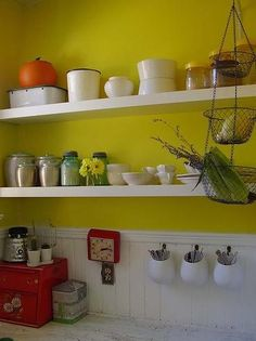 yellow w/ white & shelves in nook
