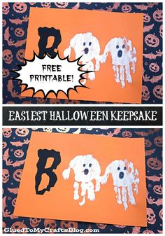 MONSTER HANDPRINT CARDS - these are too cute to make for Halloween! Monster Halloween craft for kids. Hey you - check out our EASIEST Halloween Ghost Keepsake Printable and get ready to hear your child say Halloween Tags, Printable Halloween, Theme Halloween, Halloween Ghosts, Holidays Halloween, Halloween Classroom Decorations, Halloween Week, Winter Holidays, Halloween Crafts For Toddlers