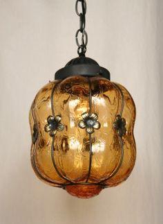 Vintage Blown in Basket Amber Pendant, c. 1960. www.myrlg.com #vintage #lighting