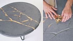 How to make a concrete coffee table with gold leaf KINTSUGI techniques to fix cracks. Concrete Crafts, Concrete Art, Concrete Projects, Concrete Design, Broken Concrete, Polished Concrete, Concrete Coffee Table, Diy Coffee Table, Modern Coffee Tables