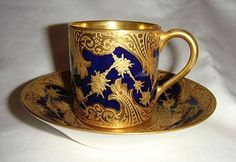 Vintage Sevres style Demi Cup & Saucer - 19th Century Mark