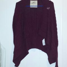Hollister maroon sweater Awesome sweater. Maroon color.  A small snag on the back that doesn't harm the sweater.  Otherwise excellent condition. Hollister Sweaters Shrugs & Ponchos