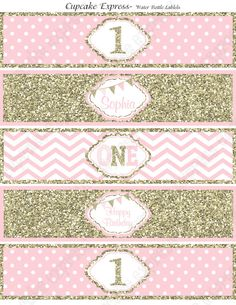 One First Birthday girl coral pink gold PRINTABLE Water Bottle Labels Personalized chevron polka dot glitter 1st birthday - 1030