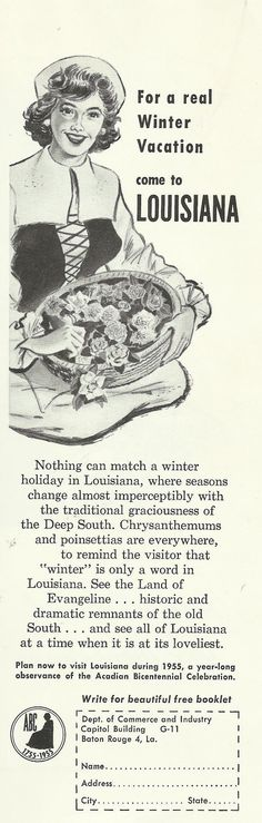 "Louisiana / Acadian Bicentennial Celebration Original 1954 Vintage Print Ad Illustration ""For A Real Winter Vacation Come To Louisiana"""