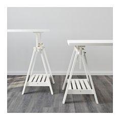 IKEA - LINNMON / FINNVARD, Bord, hvit, , Du kan velge en flat eller en vinklet bordplate som egner seg for skriving, maling eller tegning, ved å justere benbukken.Det er god plass på hyllen under benbukken til en skriver, bøker eller papirer. Da holder du bordplaten fri og får mer plass til å arbeide.