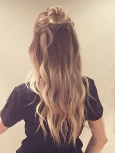 Half up half down buns! Very cute for all hair types!