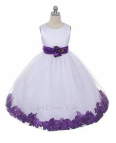 New White or Ivory Flower Girl Dress with Purple Flower Petals Wedding Party 152