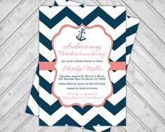 navy and coral wedding shower invitations - nautical bridal shower invite - chevron invitation - anchor - printable or printed (658) on Etsy, $15.00