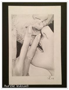 """tableau boudoir """"tu es à moi"""" au crayon graphite : Dessins par aurelie-ledoux"""