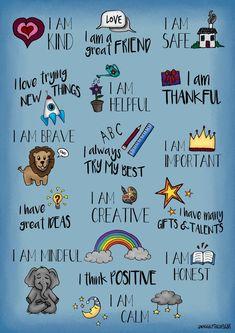 Positive Affirmations For Kids, I Am Affirmations, Affirmations Positives, Quotes Positive, Positive Self Talk, Gratitude Quotes, Kids Poster, Poster S, Mantra