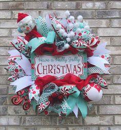 Snowman Holly Jolly Mesh Wreath by iCraftWreaths on Etsy