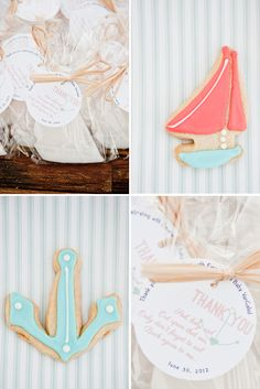 Sailboat and anchor cookies - nautical themed baby shower
