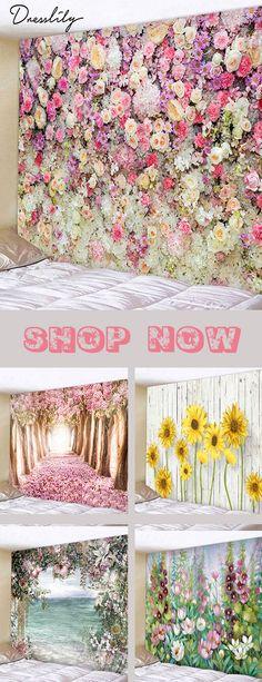 Flower Wall Printed Tapestry Art Decoration. #dresslily #homedecor #flower #tapestry