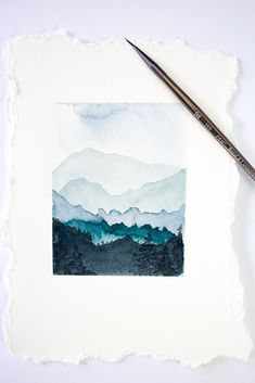 How to paint watercolor mountains #art