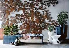 "laser cut steel wall screen  Ginko by ""Kif & Katast""               Magnifique"
