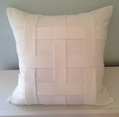 Woven pillow. Designed and constructed by Ondrea Bonvechio.