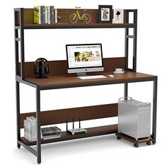 Tribesigns 55 Inches Large Computer Desk with Hutch, Modern Writing Desk with Bookshelf, PC Laptop Study Table Workstation for Home, Dark Brown + Black Legs Computer Desks For Home, Computer Desk With Hutch, Bookshelf Desk, Pc Desk, Desk Hutch, Home Desk, Home Office Desks, Home Office Furniture, Furniture Deals