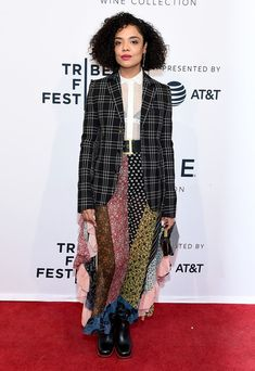 "Tessa Thompson Photos - Tessa Thompson attends a screening of ""Little Woods"" during the 2018 Tribeca Film Festival at SVA Theatre on April 2018 in New York City. - ""Little Woods"" - 2018 Tribeca Film Festival Tessa Thompson, Urban Street Style, Tyler Perry, Celebrity Dresses, Celebrity Style, Streetwear, High Fashion, Fashion Beauty, Coloured Girls"