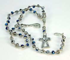 Sterling Silver cross  heart  Czech beads   by MountainLakeJewelry