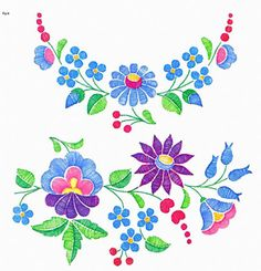 Hungarian Embroidery Stitch Flowers from Kalocsa Mexican Embroidery, Hungarian Embroidery, Folk Embroidery, Learn Embroidery, Ribbon Embroidery, Embroidery Designs, Machine Embroidery Patterns, Chain Stitch Embroidery, Embroidery Stitches