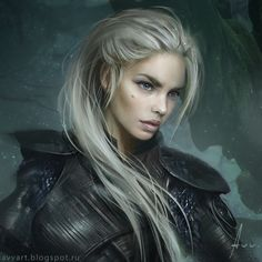 This is how I imagine Valla Moonring, except with blue-black dragon wings. ;) (blond by avvart on DeviantArt)