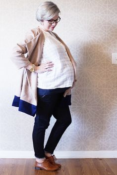 Handmade color blocked maternity coat, pattern from cali faye collection
