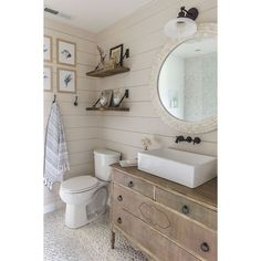 10 Bathrooms that Rock a Shiplap Treatment ❤ liked on Polyvore featuring home, home decor and inspirational home decor
