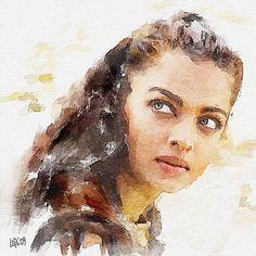 Digital watercolor of Aishwarya Rai by Vitaly Shchukin #watercolor jd