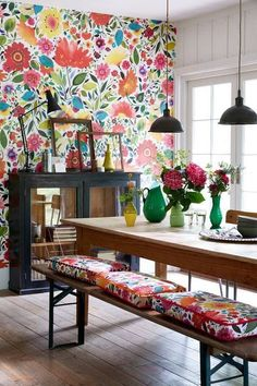 25 Accent Wall Ideas Youll Surely Wish to Try This at Home Tags accent wall accent wall ideas accent wall colors accent wall bedroom accent wallpaper accent wall wood Accent Wallpaper, Bright Wallpaper, Wallpaper Ideas, Bathroom Wallpaper, Wall Wallpaper, Trendy Wallpaper, Flower Wallpaper, Kitchen Wallpaper Accent Wall, Modern Floral Wallpaper