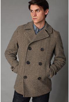 Spiewak. They make the best wool winter coats...strong enough to handle Winnipeg winters.   Spiewak Wilson Pea Coat in Gray/Camel Herringbone