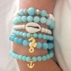 joyería pulsera ancla pulsera Caballito de mar por beachcombershop