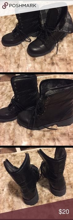 Black leather combat boots Never been worn, solid black combat boots Shoes Combat & Moto Boots