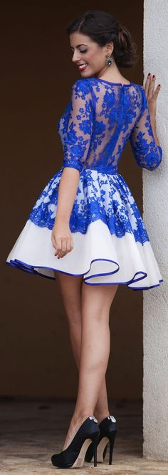 Silvia Navarro Blue Lace Fall Winter Collection Skater Dress by…