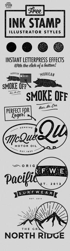4 Free Ink Stamp Effect Styles for Adobe Illustrator | Blog.SpoonGraphics | Bloglovin'