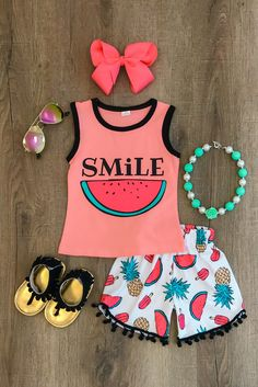 """Smile"" Watermelon Pom Pom Shorts Set"