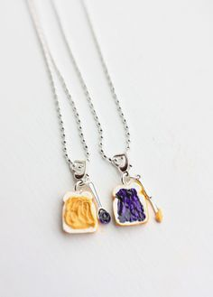 Best Friends Necklace  Peanut Butter and Grape by bookmarksnrings