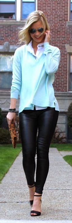 Cute way to wear leather leggings