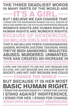 Stand against gendercide