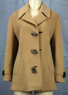 VTG WEST COUNTRY English Toggle Pea Coat Sz 10 M Camel Brown | eBay