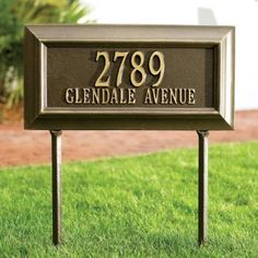 "Bayonne Estate-Size Address Plaque - Aged Copper, Lawn - Grandin Road by Grandin Road. $219.00. Lawn plaques include 18"" stakes. Made of sand-cast aluminum. Durable finishes retain their rich colors. Made of sand-cast aluminum. Durable finishes retain their rich colors. Lawn plaques include 18"" stakes. Dress up your address with these Bayonne Address Plaques. These beautiful address plaques resist harsh weather, rust, and blistering sun for years to come.. . . Please note, perso..."