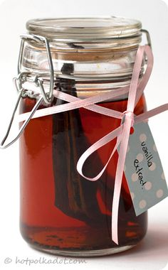 Homemade Vanilla Extract    All you'll need is...    3 - 6 vanilla beans  1 paring knife or pair of scissors  1 cup vodka  1 airtight jar (preferably dark glass)    Note: Vodka is the preferred alcohol to use when making vanilla extract because it has a neutral flavour and does not impart it's own flavour to the mix. Feel free to use rum, brandy or even gin if you'd rather infuse the extract with a little something extra.    Using your knife or scissors slice each vanilla bean in half…