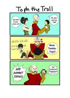 Hahaa toph the troll Avatar Airbender, Avatar Aang, Avatar The Last Airbender Funny, The Last Avatar, Team Avatar, Avatar Cartoon, Avatar Funny, Lin Beifong, Atla Memes