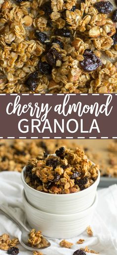 Sweet, crunchy, and sticky, this cherry almond granola is exploding with flavors. Ditch the store-bought stuff, this healthy homemade granola is easy! Raw Food Recipes, Snack Recipes, Healthy Recipes, Breakfast Recipes, Freezer Recipes, Freezer Cooking, Drink Recipes, Cooking Tips, Cherry Recipes