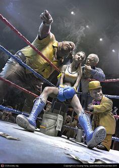 """Fight in the dark"" by Guang Yang (Software used: 3DSMax, Maya, MentalRay, Mudbox, ZBrush)"