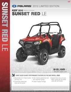2013 Polaris Ranger RZR 800 - Sunset Red No viene con novedad!! Sigue siendo el mismo que el del 2012!