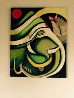 green ganesha Lord Ganesha Paintings, Ganesha Art, Krishna Art, Small Canvas Art, Diy Canvas Art, Acrylic Painting Canvas, Buddha Painting, Mandala Painting, Poster Rangoli