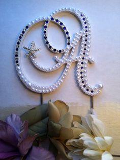 Pearl Cake Topper Monogram Wedding Cake by ShellCoastalDesigns, $60.00