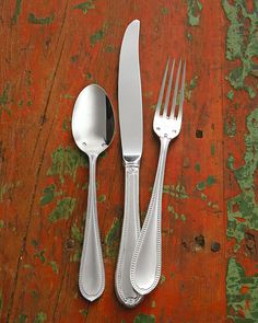 Sterling silver flatware. Dishwasher safe. Service includes eight five-piece place settings and a six-piece hostess set (tablespoon, cold meat fork, pierced tablespoon, sugar spoon, butter knife, and
