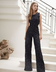 Alexis Livia Open Back Jumpsuit in Navy Embroidery